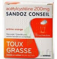 ACETYLCYSTEINE SANDOZ CONSEIL 200 mg Glé solution buvable en sachet-dose 20Sach/1g à NOROY-LE-BOURG